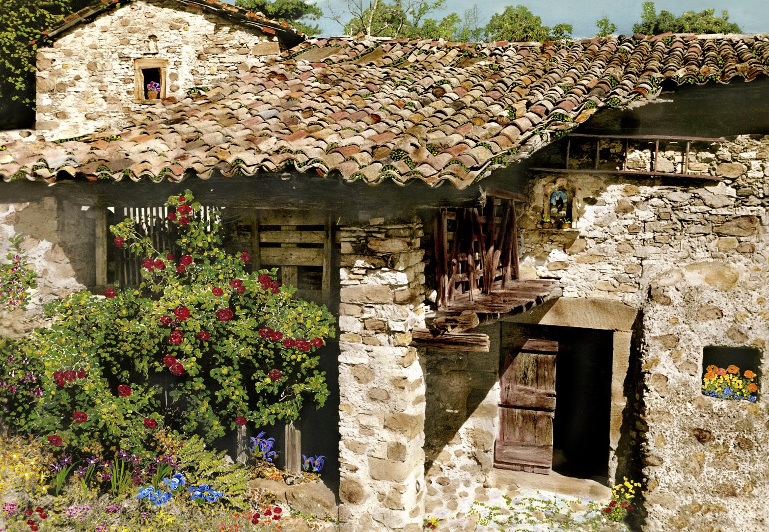 Italian Farmhouse With Roses Martin Roberts Artwork