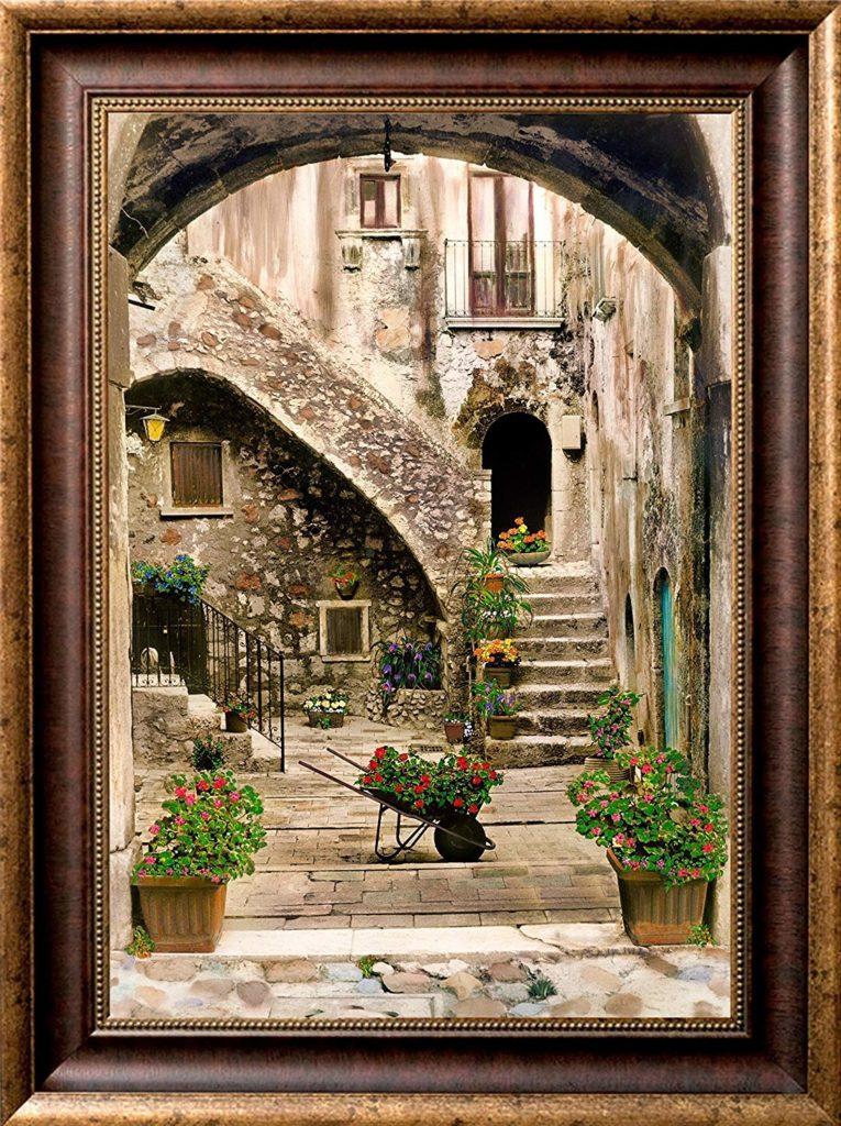 Wheel Barrow of Roses Framed