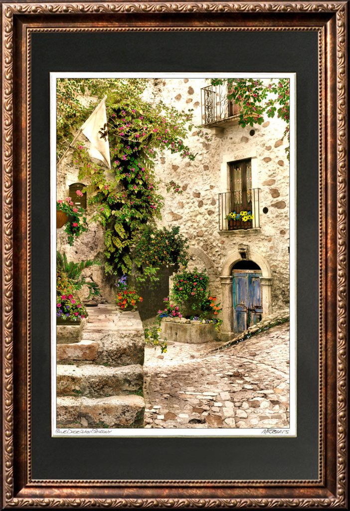 Blue Door with Balcony Framed Print