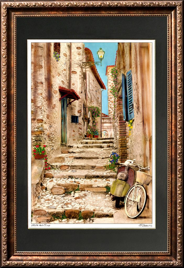 Vespa and Bike Framed Print