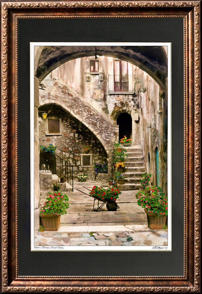 Wheelbarrow of Roses Framed Print